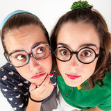 Young nerdy girls Royalty Free Stock Photos