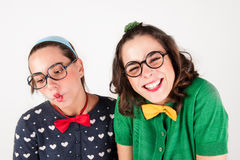 Young nerdy girls Royalty Free Stock Photography