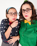 Young nerdy girls Stock Photography
