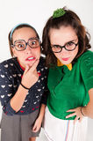 Young nerdy girls Stock Image