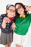 Young nerdy girls Stock Images
