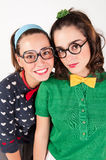 Young nerdy girls Royalty Free Stock Images