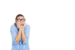 Young nerdy unhappy and anxious woman Stock Images