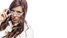 Young nervous business  woman Stock Images
