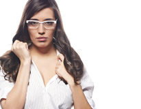 Young nervous business  woman Royalty Free Stock Images