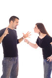Young newlywed couple fighting stock photography