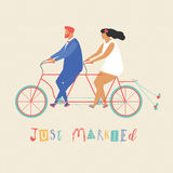 Young newlywed couple riding a bicycle, going to honeymoon. Just married couple illustration in vector. Stock Images
