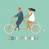 Young newlywed couple riding a bicycle, going to honeymoon. Just married couple illustration in vector. Stock Image