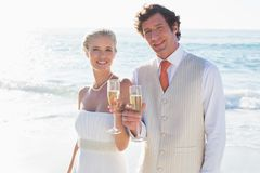 Young newlyweds toasting with champagne smiling at camera Royalty Free Stock Photo