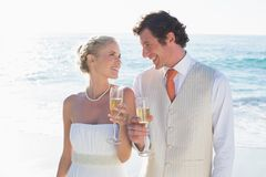 Young newlyweds toasting with champagne smiling at each other Stock Photography