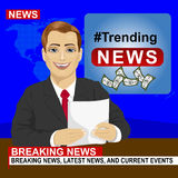 Young news anchor man reporting breaking news sitting in studio Royalty Free Stock Photo