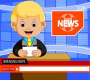 Young news anchor man reporting breaking news sitting in a studio. Illustration of Young news anchor man reporting breaking news sitting in a studio Royalty Free Stock Photography