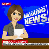 Young news anchor woman reporting breaking news sitting in studio Royalty Free Stock Photography