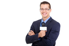 Young news reporter. In live broadcasting on white background Stock Image