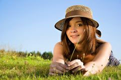 Young nice attentive woman Royalty Free Stock Images