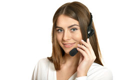 Young nice call operator woman Royalty Free Stock Images