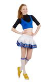 Young nice cheerleader isolated on the white Royalty Free Stock Photo
