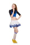 Young nice cheerleader isolated on the white Stock Image