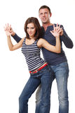Young nice couple dancing on white background Royalty Free Stock Photos