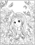 Young nice girl in a cap with a unicorn horn in the garden of ro stock illustration