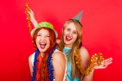 Young nice girl have fun. Young nice girls have fun on a party Royalty Free Stock Photos