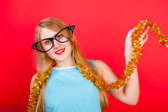 Young nice girl have fun. On a party Royalty Free Stock Photo