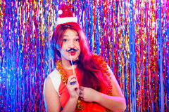 Young nice girl have fun. On a party Stock Images