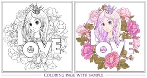 Young nice girl with long hear with princess crown in the garden. Of roses with colored sample. Outline drawing coloring page Coloring book for adult. Stock royalty free illustration