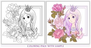 Young nice girl with long hear with princess crown in the garden. Of roses with colored sample. Outline drawing coloring page Coloring book for adult. Stock Stock Photography