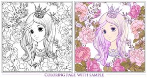 Young nice girl with long hear with princess crown in the garden. Of roses with colored sample. Outline drawing coloring page Coloring book for adult. Stock stock illustration