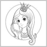 Young nice girl with long hear and princess Crown on her head ma. Ke selfie or photograph on a mobile phone. Outline drawing coloring page. Coloring book for Royalty Free Stock Image
