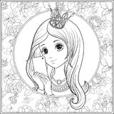 Young nice girl with long hear and princess Crown on her head ma. Ke selfie or photograph on a mobile phone. Outline drawing coloring page. Coloring book for vector illustration