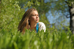 Young nice girl lying in grass Royalty Free Stock Image