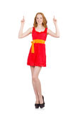 Young nice girl pointing isolated on white Stock Image