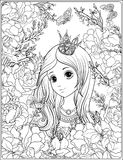Young nice girl in princess crown in the garden of roses. Outlin stock illustration