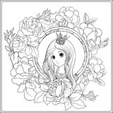 Young nice girl in princess crown in the garden of roses. Outlin. Young nice girl in princess crown in the garden of roses.r Outline drawing coloring page stock illustration
