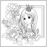 Young nice girl in princess crown in the garden of roses. Outlin. Young nice girl in princess crown in the garden of roses.r Outline drawing coloring page vector illustration