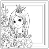 Young nice girl in princess crown in the garden of roses. Outlin. Young nice girl in princess crown in the garden of roses.r Outline drawing coloring page royalty free illustration