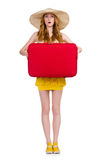 Young nice girl with travel case isolated Stock Images