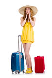 Young nice girl with travel case isolated Royalty Free Stock Images