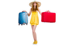 Young nice girl with travel case isolated Royalty Free Stock Image