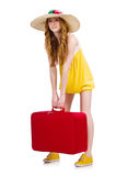 Young nice girl with travel case isolated Royalty Free Stock Photography