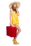 Young nice girl with travel case isolated Stock Photo