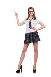 The young nice student female pointing on Royalty Free Stock Photo