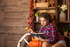 Young nice teenager girl is in the barn royalty free stock photography