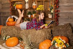 Young nice teenager girl is in the barn stock photos