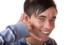 Young and nice teenager shows calling sign Royalty Free Stock Photography