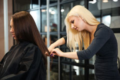 Young nice woman hairdresser makes hairstyle for a girl Stock Photography