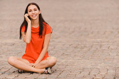 Young nice woman with phone Stock Photo
