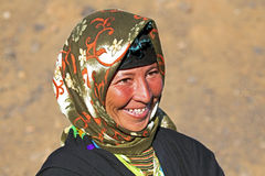 Young nomad woman in the desert Stock Photo